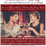 Valentine's Day event print design made by Jay Gervais for Boulevard Restaurant