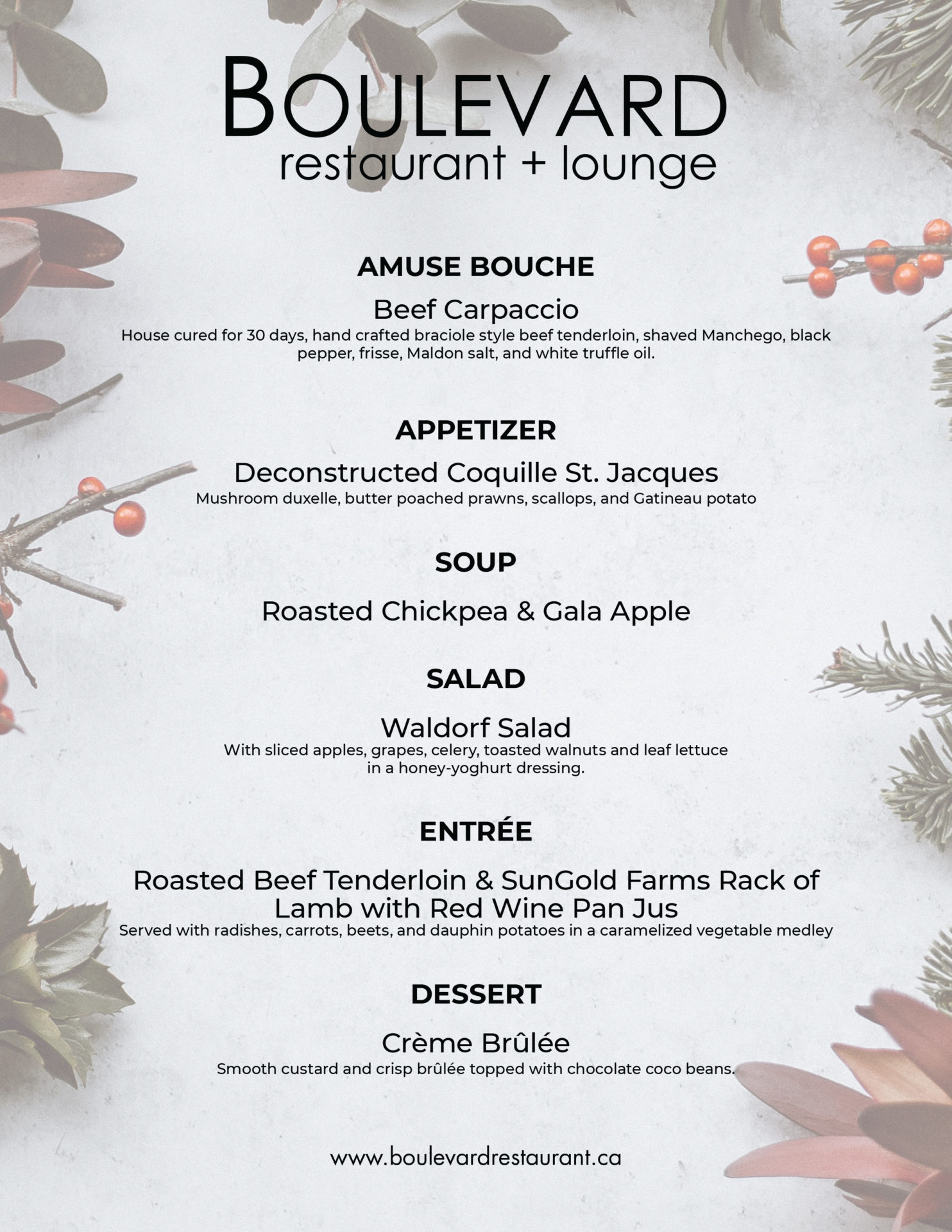 Boulevard Restaurant festive menu for a private function designed by Jay Gervais