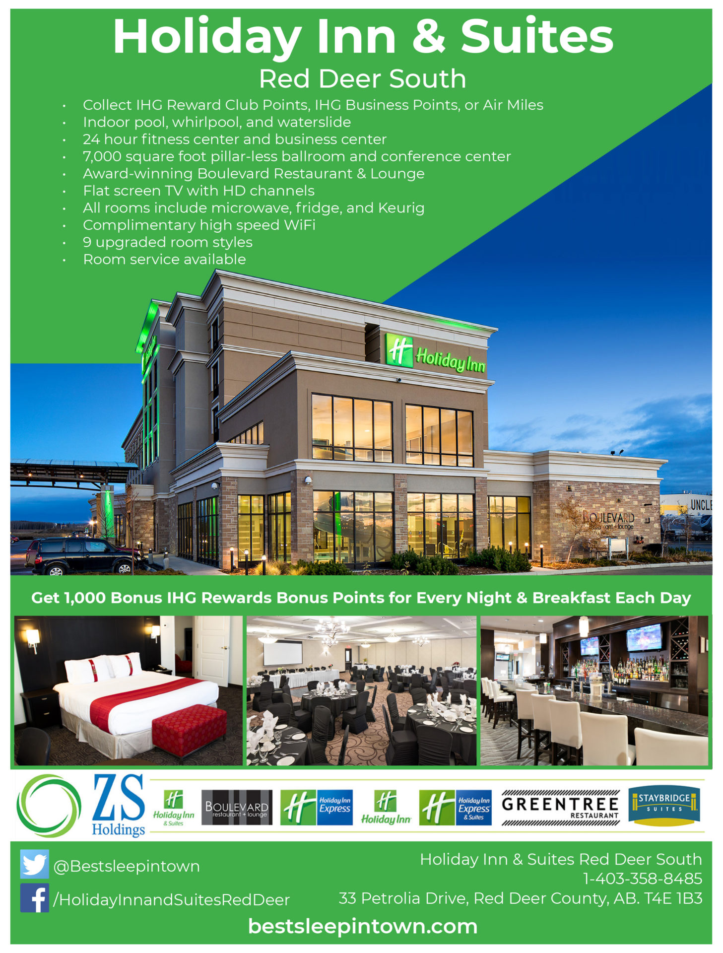 Holiday Inn & Suites hotel information sheet designed by Jay Gervais