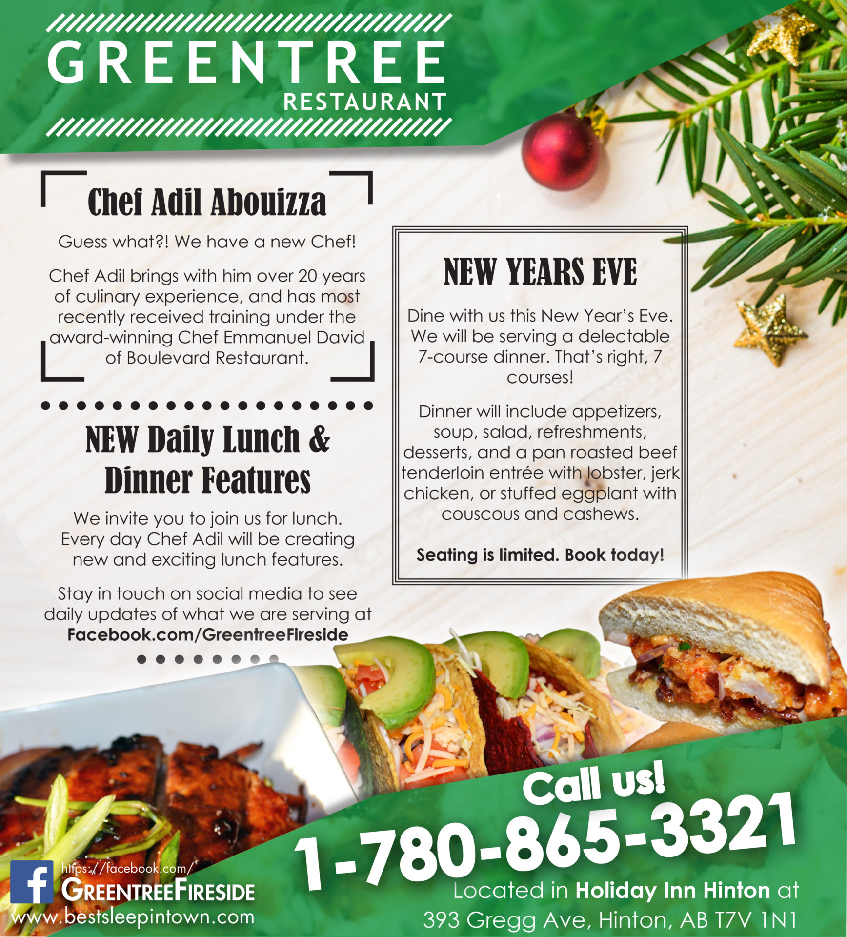 Greentree Restaurant newspaper ad made by Jay Gervais