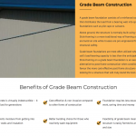 Grade Beam Construction information page section on Pruvan Construction website