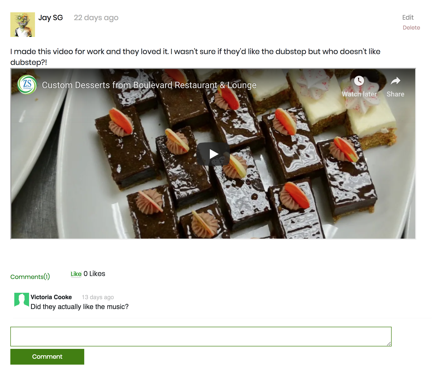 News feed section of Infastory website showing a posted video with a comment